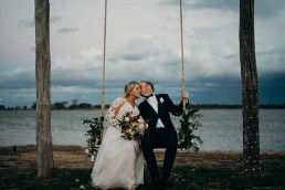 Custom Chiffon wedding dress swing
